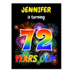 "[ Thumbnail: 72nd Birthday - Fun Fireworks, Rainbow Look ""72"" Postcard ]"