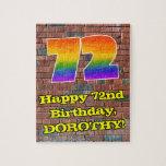 [ Thumbnail: 72nd Birthday: Fun Graffiti-Inspired Rainbow 72 Jigsaw Puzzle ]