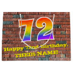 [ Thumbnail: 72nd Birthday: Fun, Graffiti-Inspired Rainbow # 72 Gift Bag ]