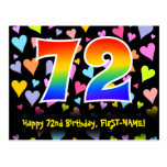 [ Thumbnail: 72nd Birthday: Fun Hearts Pattern, Rainbow 72 Postcard ]
