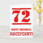 [ Thumbnail: 72nd Birthday: Fun, Red Rubber Stamp Inspired Look Card ]
