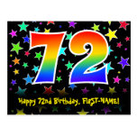 [ Thumbnail: 72nd Birthday: Fun Stars Pattern, Rainbow 72, Name Postcard ]