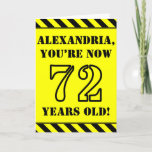 [ Thumbnail: 72nd Birthday: Fun Stencil Style Text, Custom Name Card ]