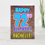 [ Thumbnail: 72nd Birthday - Fun, Urban Graffiti Inspired Look Card ]