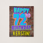 [ Thumbnail: 72nd Birthday ~ Fun, Urban Graffiti Inspired Look Jigsaw Puzzle ]