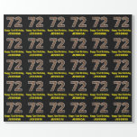 "[ Thumbnail: 72nd Birthday: Name & Faux Wood Grain Pattern ""72"" Wrapping Paper ]"