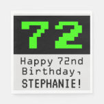 "[ Thumbnail: 72nd Birthday - Nerdy / Geeky Style ""72"" & Name Napkins ]"