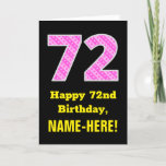 "[ Thumbnail: 72nd Birthday: Pink Stripes and Hearts ""72"" + Name Card ]"