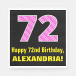"[ Thumbnail: 72nd Birthday: Pink Stripes and Hearts ""72"" + Name Napkins ]"