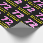 "[ Thumbnail: 72nd Birthday: Pink Stripes and Hearts ""72"" + Name Wrapping Paper ]"