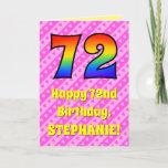 [ Thumbnail: 72nd Birthday: Pink Stripes & Hearts, Rainbow # 72 Card ]