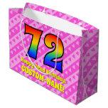 [ Thumbnail: 72nd Birthday: Pink Stripes & Hearts, Rainbow # 72 Gift Bag ]