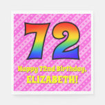 [ Thumbnail: 72nd Birthday: Pink Stripes & Hearts, Rainbow # 72 Napkins ]