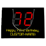 "[ Thumbnail: 72nd Birthday: Red Digital Clock Style ""72"" + Name Gift Bag ]"
