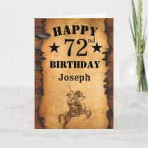 72nd Birthday Rustic Country Western Cowboy Horse Card
