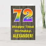 "[ Thumbnail: 72nd Birthday: Rustic Faux Wood Look, Rainbow ""72"" Card ]"