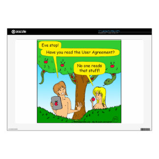 """730 Adam and Eve terms and conditions cartoon 17"""" Laptop Skins"""