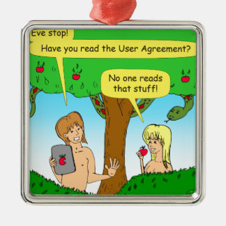 730 Adam and Eve terms and conditions cartoon Metal Ornament