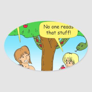 730 Adam and Eve terms and conditions cartoon Oval Sticker