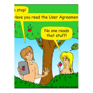 730 Adam and Eve terms and conditions cartoon Postcard