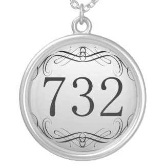 732 Area Code Silver Plated Necklace