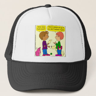 732 What does heck mean cartoon Trucker Hat