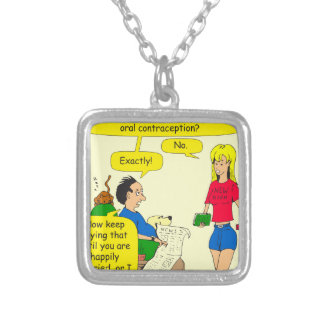 733 best oral contraception cartoon silver plated necklace