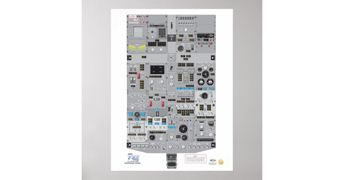 737NG Overhead Panel Poster