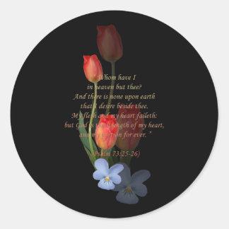 73:25 del salmo - 26 tulipanes pegatina redonda