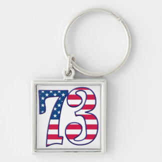 73 Age USA Silver-Colored Square Keychain