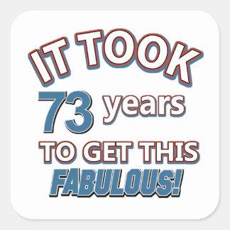 73 os diseños del cumpleaños del año pegatinas cuadradases personalizadas