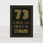 "[ Thumbnail: 73rd Birthday: Art Deco Inspired Look ""73"" & Name Card ]"