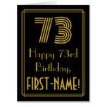 "[ Thumbnail: 73rd Birthday: Art Deco Inspired Look ""73"" + Name Card ]"