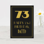 "[ Thumbnail: 73rd Birthday ~ Art Deco Inspired Look ""73"" & Name Card ]"