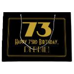 "[ Thumbnail: 73rd Birthday — Art Deco Inspired Look ""73"" & Name Gift Bag ]"