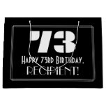 "[ Thumbnail: 73rd Birthday ~ Art Deco Inspired Look ""73"" + Name Gift Bag ]"