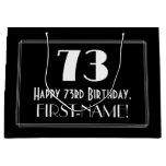 "[ Thumbnail: 73rd Birthday: Art Deco Inspired Style ""73"", Name Gift Bag ]"