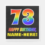 [ Thumbnail: 73rd Birthday: Bold, Fun, Simple, Rainbow 73 Napkins ]