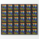 [ Thumbnail: 73rd Birthday: Bold, Fun, Simple, Rainbow 73 Wrapping Paper ]