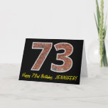 "[ Thumbnail: 73rd Birthday - Brick Wall Pattern ""73"" W/ Name Card ]"