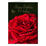 73rd Birthday Card with a classic red rose