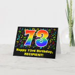 [ Thumbnail: 73rd Birthday: Colorful Music Symbols & Rainbow 73 Card ]