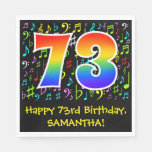 [ Thumbnail: 73rd Birthday - Colorful Music Symbols, Rainbow 73 Napkins ]