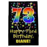 [ Thumbnail: 73rd Birthday: Colorful Stars Pattern & Rainbow 73 Gift Bag ]