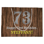 [ Thumbnail: 73rd Birthday: Country Western Inspired Look, Name Gift Bag ]