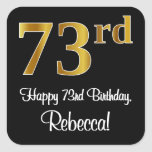 [ Thumbnail: 73rd Birthday – Elegant Luxurious Faux Gold Look # Sticker ]