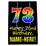 "[ Thumbnail: 73rd Birthday: Fun, Bold, Colorful, Rainbow ""73"" Gift Bag ]"