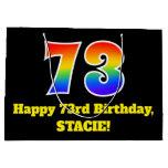 [ Thumbnail: 73rd Birthday ~ Fun, Colorful, Vibrant, Rainbow 73 Gift Bag ]