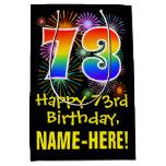 [ Thumbnail: 73rd Birthday: Fun Fireworks Pattern + Rainbow 73 Gift Bag ]