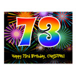 [ Thumbnail: 73rd Birthday – Fun Fireworks Pattern + Rainbow 73 Postcard ]